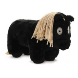 Crafty Pony Horse Stuffed Animal Black with Tain Mane and Tail, and Black Hooves