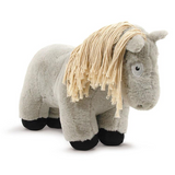 Crafty Pony Horse Stuffed Animal Light Grey with Tan Mane and Tail, and Black Hooves