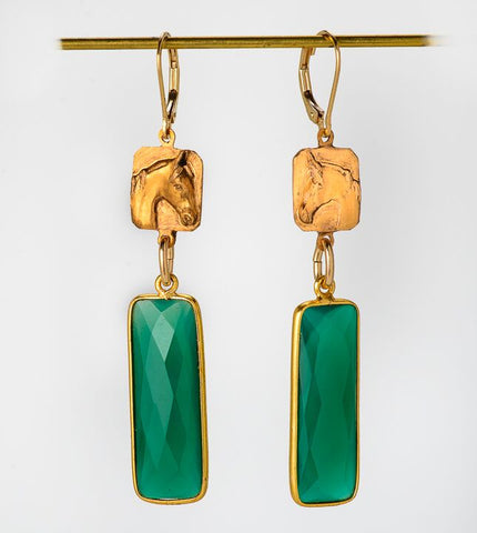 Rex McDonald Large Stone Saddlebred Horse Earrings Green Onyx and Ancient Bronze