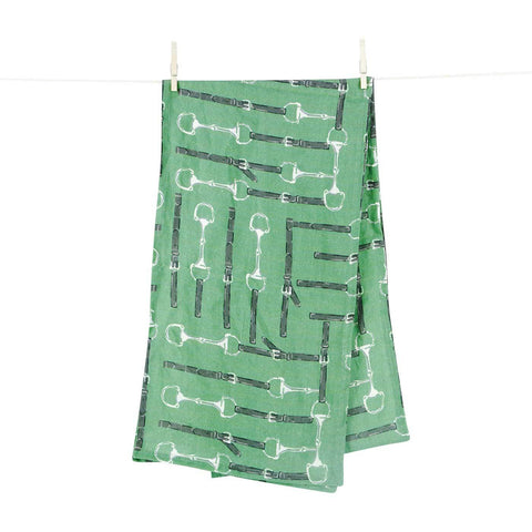Medium Green Linen Table Runner with White Snaffle Bits and Dark Green Leather on Clothesline