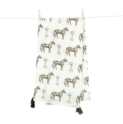 Pomegranate Horse and Snaffle Linen Table Runner
