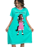 Hot to Trot Horse Night Shirt Standing Woman Wearing Short Sleeve Long Tee Shirt Teal with Pink Trim Cartoon Horse in a Dress