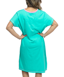 Hot to Trot Horse Night Shirt Standing Woman Wearing Short Sleeve Long Tee Shirt Teal with Pink Trim Showing Back