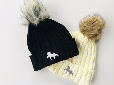 American Saddlebred Turn Up Pom Beanie