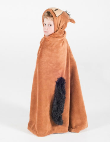 Brown Horse Hooded Blanket