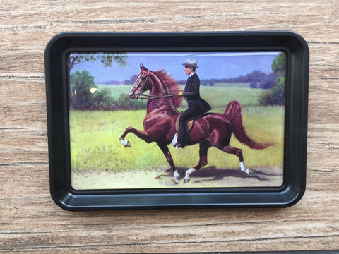 Saddlebred Horse and Rider Trinket Tray