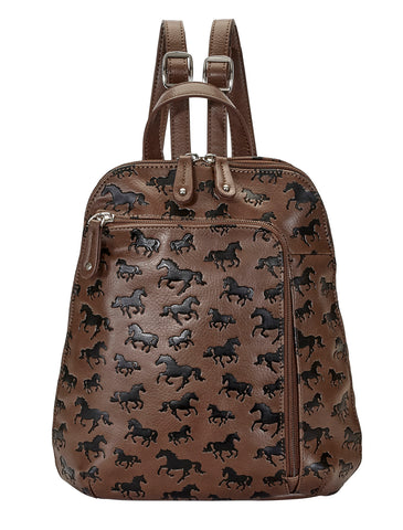 Horses All Over Debossed Backpack