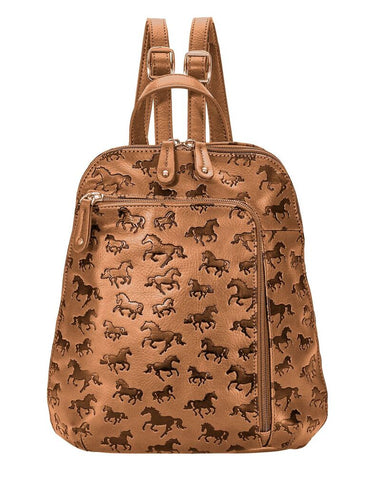 Horses All Over Debossed Backpack Front