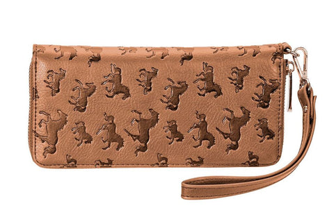 Horses All Over Debossed Wristlet/Wallet