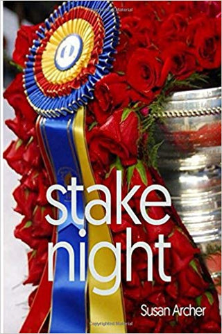Stake Night by Susan Archer Book Cover Silver Trophy with Roses and Tri-Color Ribbon Draped Over
