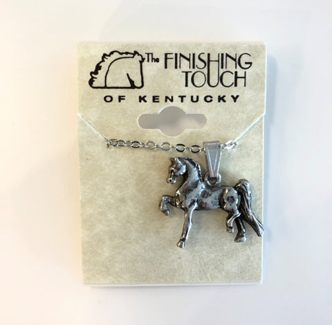 Retro Silver Saddlebred Necklace
