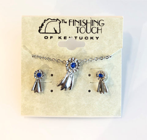 Silver Blue Ribbon Earring and Necklace Set