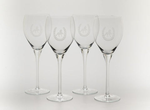 Saddlebred Horse in Horseshoe Etched on Four Wine Glasses