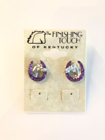 Purple Horse and Horseshoe Earrings