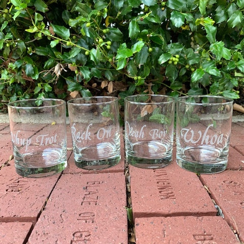 "Saddlebred Horse Show Sayings Etched on Four Glass Double Old Fashioned Glasses ""Whup Trot"" ""Rack On"" ""Yeah Boy"" ""Whoa"""
