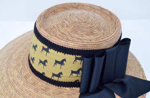 Hackney Print Natural Straw Hat