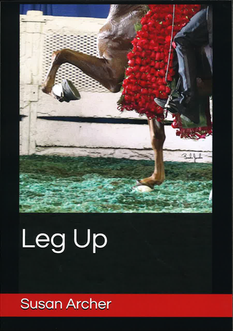 Leg Up by Susan Archer Book Cover Saddlebred Horse Bottom Half Leg Up with Roses on Green Shavings