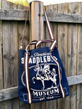Rebecca Ray American Saddlebred Museum Horse Tote Navy Front Hanging on Fence