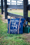 Rebecca Ray American Saddlebred Museum Horse Tote Navy Front Sitting by Fence with Tack Box