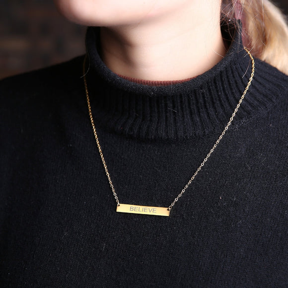 Believe Gold  Bar Pendant Necklace