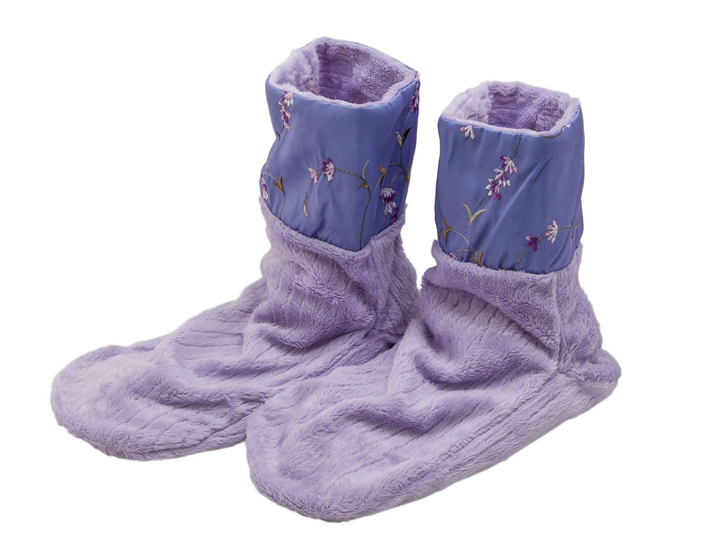 Lavender Spa Booties- Embroidered Fabric