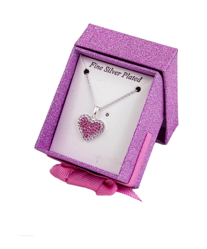 SILVER PLATED PINK CRYSTAL NECKLACE