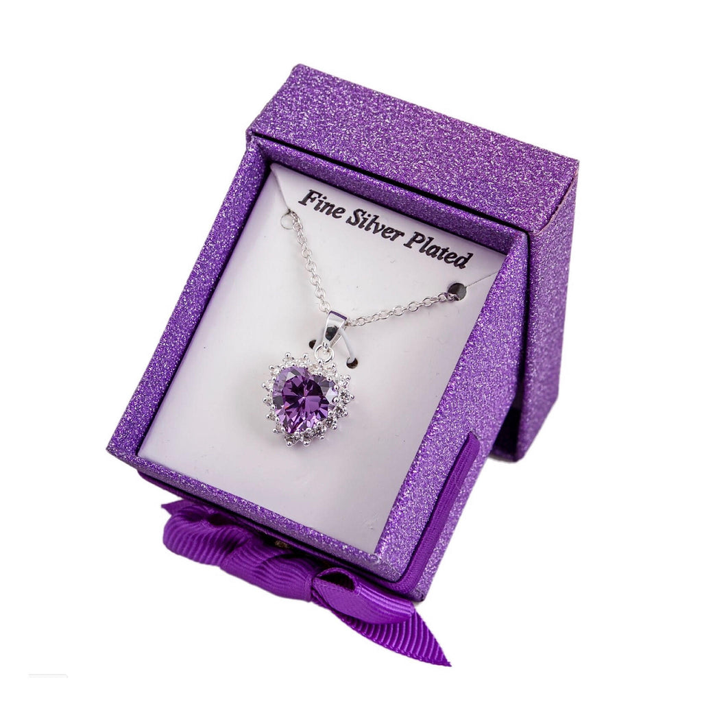 SILVER PLATED PURPLE CRYSTAL NECKLACE