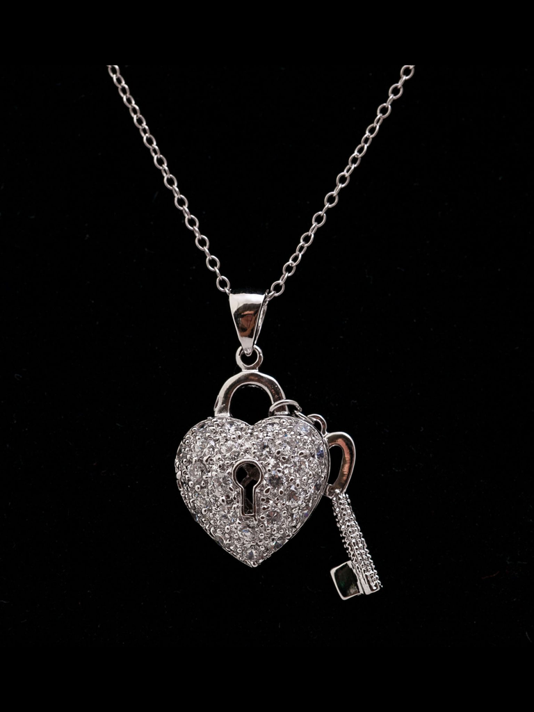 Sterling Silver Heart & Key Necklace