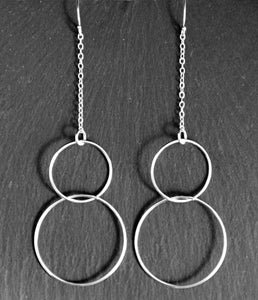 Long earrings - Two intertwined circles