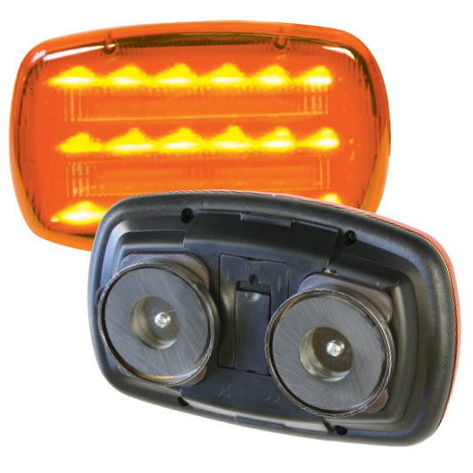 18 Led Magnetic Battery Operated Led Safety Light Amber, HF18APHD HF18AHD
