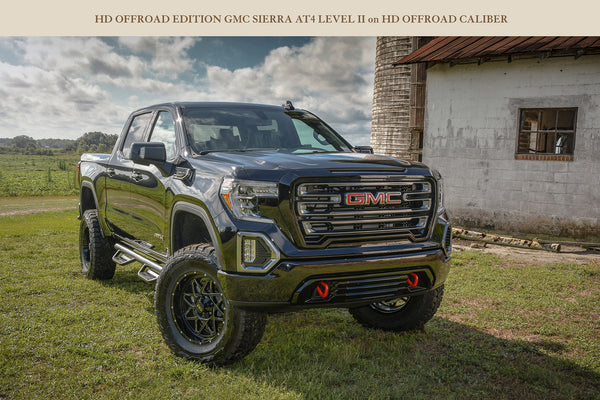 GALLERY | 2019 3C GMC SIERRA AT4 - LEVEL II ON 20X9 HD OFF-ROAD CALIBER - GLOSS BLACK MILLED EDGE