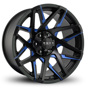HD Off-Road Wheels Truck & SUV Wheels 20x9.0 | 6x135/6x139.7 | et15mm | 5.6 in | 106.2mm HD Off-Road Canyon Wheels | Satin Black Blue Milled