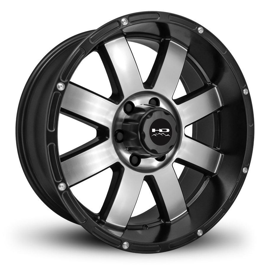 HD Off-Road Wheels Truck Wheels 20x10.0 | 6x139.7 | et-25mm | 4.0 in | 106.2mm HD Off-Road 8-Point Wheels | Satin Black Machined Face