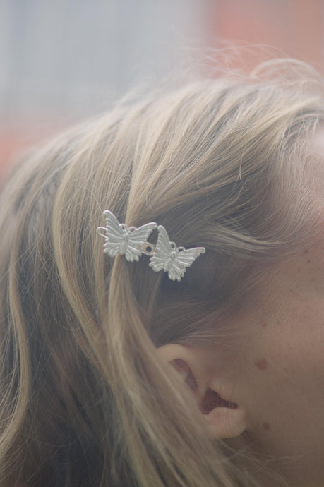 AYM 1 x 2 Butterfly Hair accessories Silver