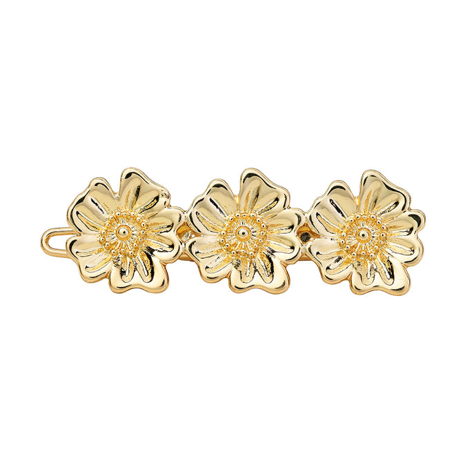 1 x 3 Poppy flower hair barrette - Gold - AYM STORE