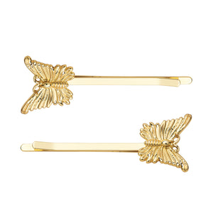 AYM 2 x Butterfly Hair accessories Gold