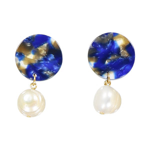 Andréia freshwater pearl earrings - Barcelona blue - AYM STORE
