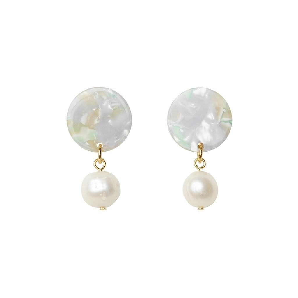 Andréia freshwater pearl earrings - Osaka mint - AYM STORE