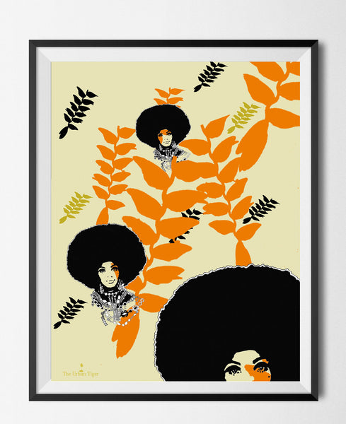 🌴HANGING HELICONIA  Giclèe A4 Art Print Black Afro Hair Woman Botanical Christmas Kwanzaa  Home Decor GIFTS