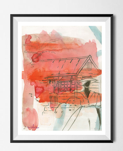 🌴 'HER CHATTEL HOUSE ' WATERCOLOUR 8 x 5 (A5) MINI PRINT ARTIST ENHANCED LIMITED EDITION