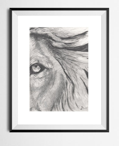🌴'LION EyE' GRAPHITE PENCIL 8 x 5 MINI ART PRINT LIMITED EDITION