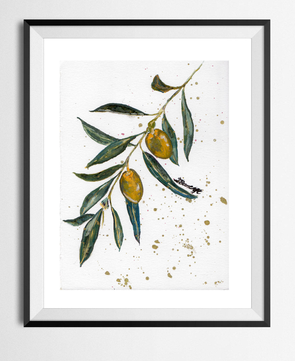 🌴 'OLEA EUROPAEA' OLIVE TREE BRANCH GOUACHE MINI 8 X 5 (A5) MINI PRINT LIMITED EDITION