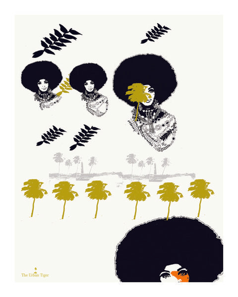 🌴'TUG TRUG AND PALMS' GICLÈE A4 ART PRINT PALM TREES BARBADOS SCENE Black Afro Hair Woman Christmas Kwanzaa  Home Decor GIFTS