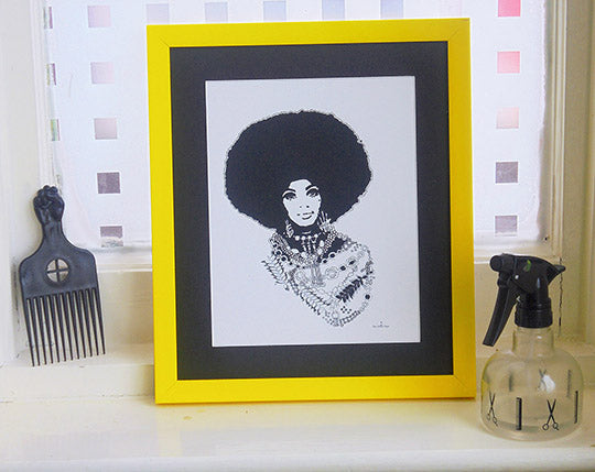 🌴 'MY MONA' SIGNED MATTED 12 X 10 GICLÈE ART PRINT Black Afro Hair Woman Christmas Kwanzaa Home Decor GIFTS