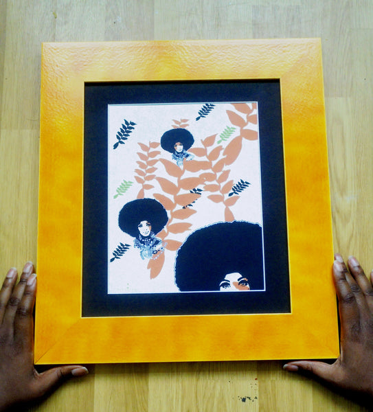 🌴 'HANGING HELICONIA' SIGNED MATTED 12 X 10 GICLÈE ART PRINT  BOTANICAL Black Afro Hair Woman Christmas Kwanzaa Home Decor GIFTS