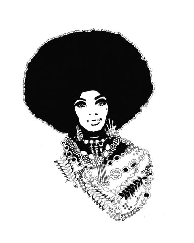 🌴MY MONA Giclèe A4 Art Print Black Afro Hair Woman Christmas Kwanzaa  Home Decor GIFTS