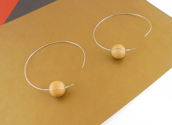 🌴BATHSHEBA BEACH SUPA LARGE SILVER HOOP WOODEN BEAD THREAD THROUGH EARRINGS