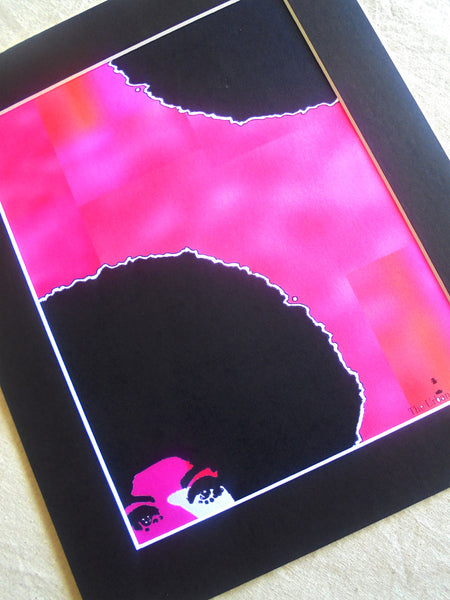 🌴 MONA HOT PINK SIGNED MATTED 12 X 10 FUCHSIA GICLÈE ART PRINT Black Caribbean Afro Hair Woman Christmas Kwanzaa Home Decor GIFTS