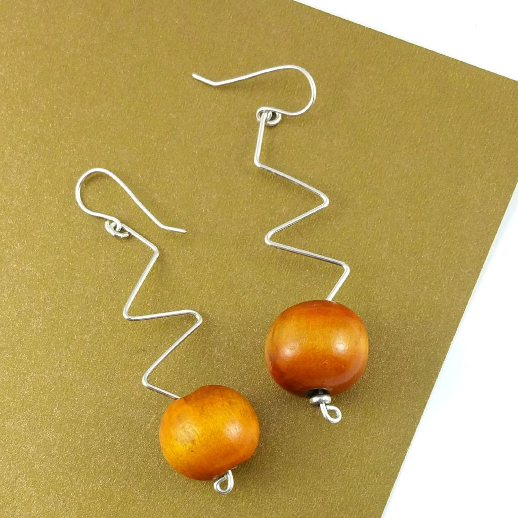 🌴BATHSHEBA BURNT ORANGE MEDIUM SILVER DANGLE EARRINGS