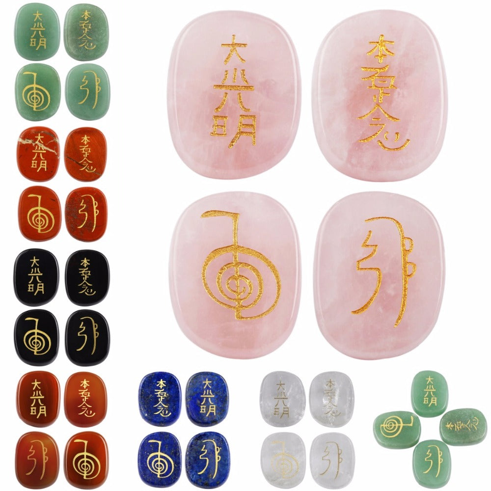 Crystal Engraved Rune Chakra Gemstone With Traditional Usui Reiki